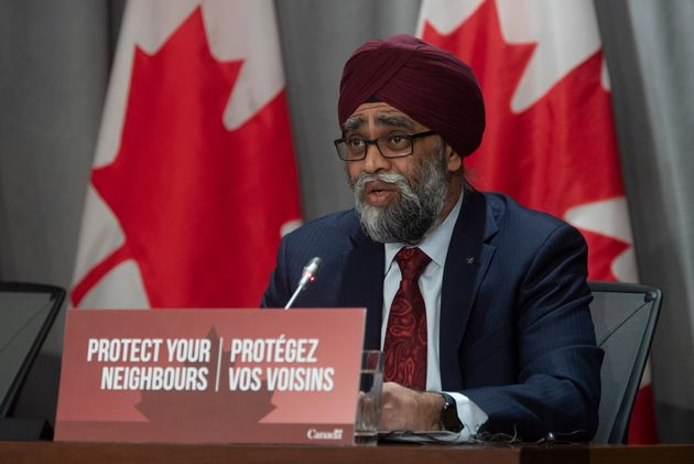 Defence Minister Harjit Sajjan speaks during a news conference in Ottawa on March 30,