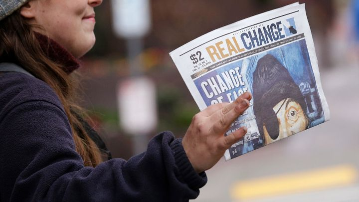 The street newspaper Real Change is written by a paid staff and sold by self-employed vendors, many of whom are homeless.