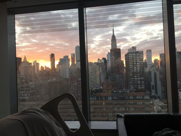 And then ― with its usual flair for the dramatic ― the city serves up a stunning sunset over the Manhattan skyline as seen from the ICU.