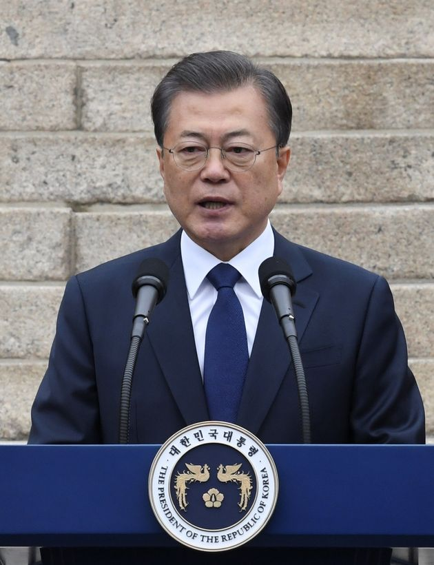 South Korea's President Moon Jae-in speaks during a ceremony marking the 101st anniversary of the March...