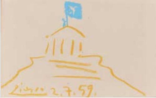 Στις 2 Ιουλίου 1959, ο Πικάσο σχεδίασε ένα σκίτσο που δείχνει έναν «Παρθενώνα» και στην κορυφή απεικονίζεται ο Γλέζος να κρατά τη σημαία με το περιστέρι της ειρήνης.