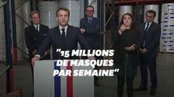 Macron promet l'indépendance de la production de masques d'ici la fin de