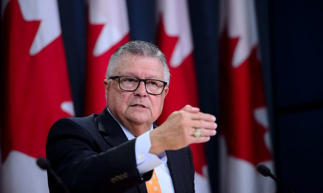 Ralph Goodale speaks a press conference at the National Press Theatre in Ottawa on Aug. 6,