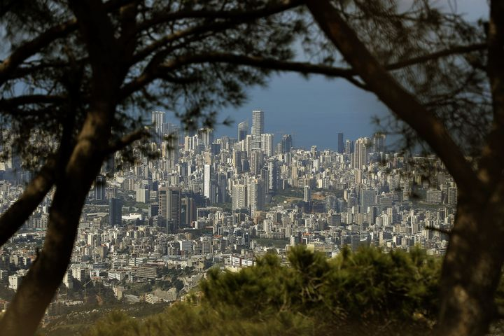 Lebanon's capital Beirut with a clear skyline, on March 21, 2020, as people stay home due to restrictions to control the spre