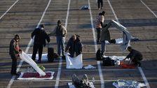 Las Vegas Machen Obdachlose Schlafen Im Sozial Distanzierten Parkplatz