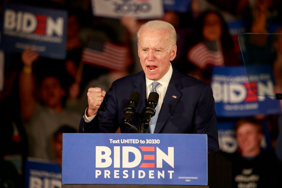 Joe Biden celebrates his win in the South Carolina primary on Feb. 29. Several of Sanders' advisers wanted him to contrast hi