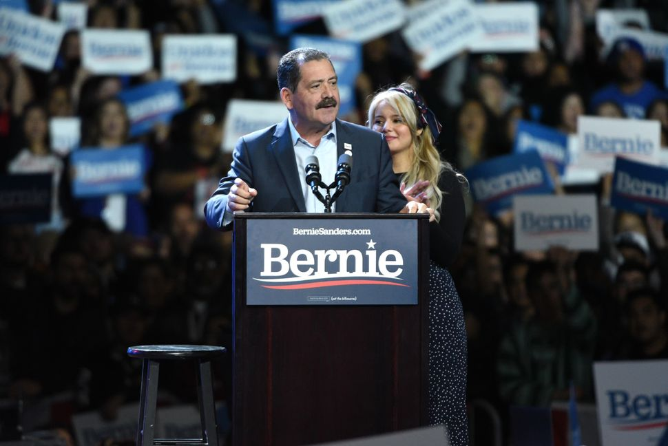 "Rep. Jesús ""Chuy"" Garcia (D-Ill.) speaks at a Sanders rally in Los Angeles. Despite Sanders' strong Latino support, on"