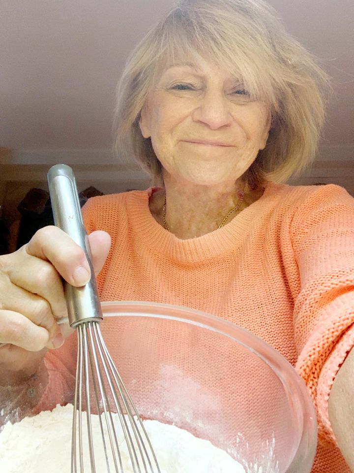 Jennifer's mother, Michèle, learning to make a banana yogurt loaf at home, in Paris, instructed via video chat by her daughter in Toronto.