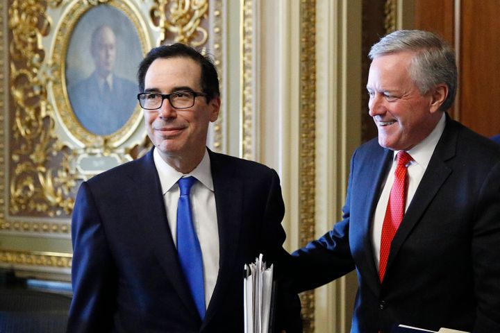 Treasury Secretary Steve Mnuchin, left, and White House chief of staff Mark Meadows step out of a meeting as the Senate negot