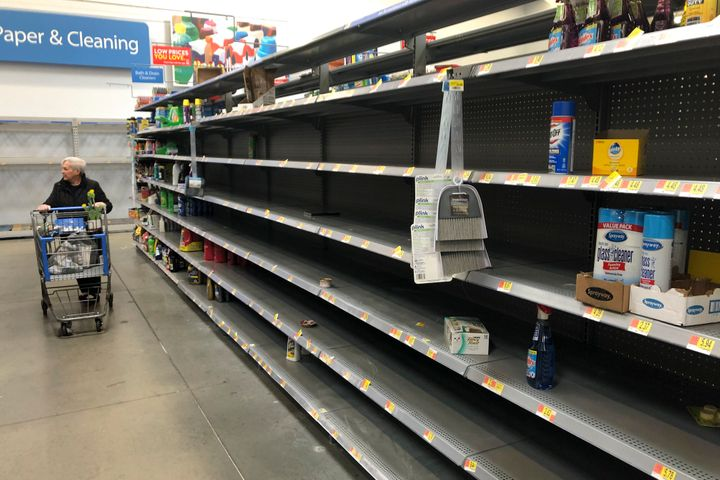 Shelves are nearly empty at a Walmart in Warrington, Pennsylvania, on March 17. Walmart has said it will provide up to t