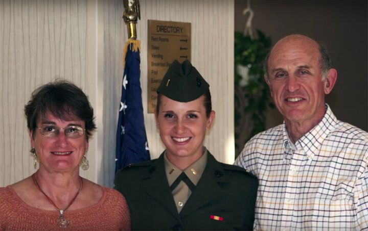 Rodman and her parents in August 2008. From left to right: Sylvia Rodman (mother), Rodman, John Rodman (father).