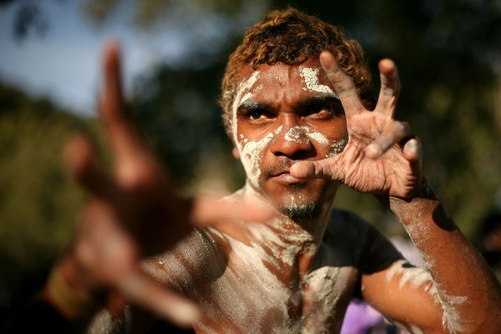A dancer from the Yarrabah community. The community is currently under a lockdown.
