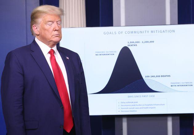 도널드 트럼프 미국 대통령이 백악관 코로나19 정례 브리핑에서 소개된 그래프 옆에 서 있다. '지역사회 확산 완화 목표'라는 제목이 붙은 이 그래프는 시나리오별 예상 사망자수를 나타내고...