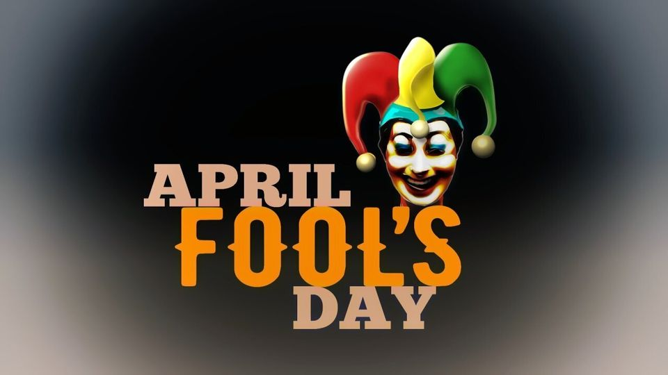 APRIL FOOL'S DAY lettering with face of jester, finished