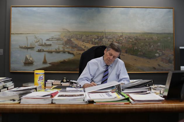 Mayor John Tory at work at Toronto City Hall during the COVID-19 pandemic on March 23,