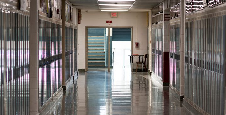 A school empty hallway because school is closed due to the coronavirus