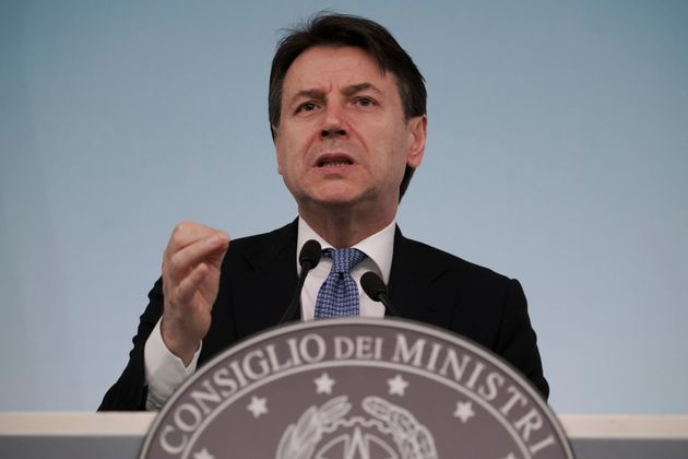 Italian Premier Giuseppe Conte speaks during a press conference on economic measures to help facing consequences...