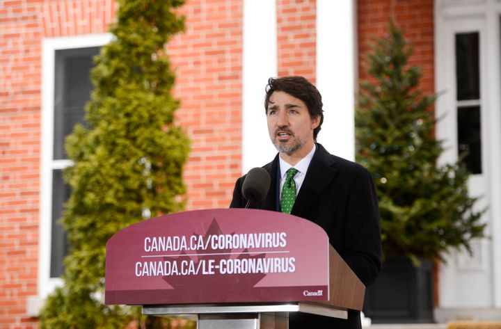 Prime Minister Justin Trudeau addresses Canadians on the COVID-19 pandemic from Rideau Cottage in Ottawa on March 31, 2020.