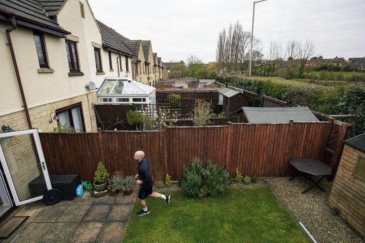 James Campbell runs a charity marathon to raise funds for the NHS, in his garden, while the country is in lockdown to control