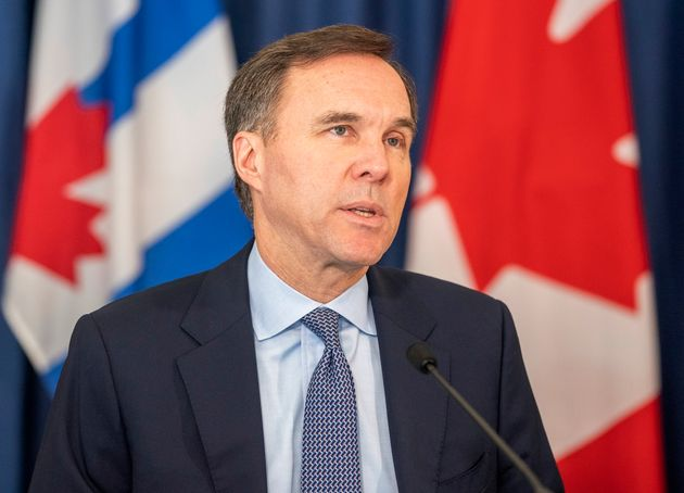 Finance Minister Bill Morneau speaks at a news conference in Toronto on on April 1,