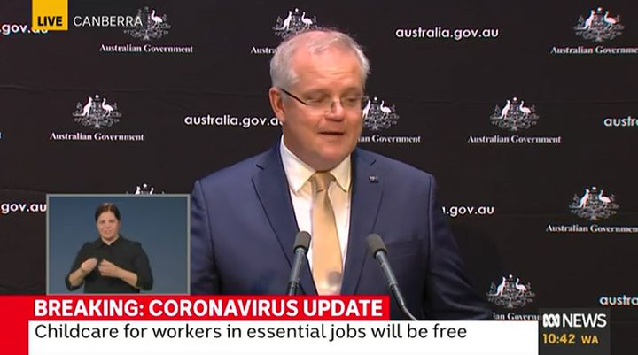 Australian Prime Minister Scott Morrison evidently choked up during a press conference on Thursday when discussing his family life amid the coronavirus pandemic.