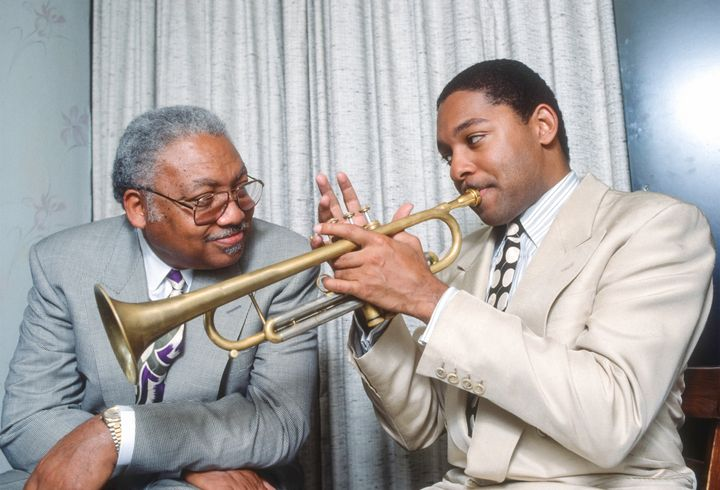 Ellis Marsalis Jr. (left) and his son, fellow musician Wynton Marsalis, backstage after a rare performance as a duo at The Bl