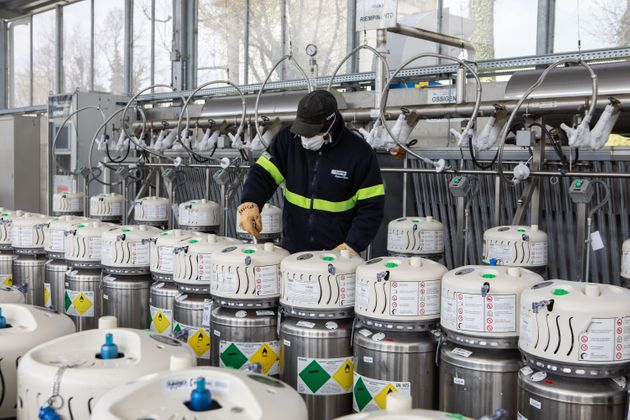 CAPONAGO, ITALY - APRIL 01: A workman some cryogenic mobile tanks before filling them with liquid oxygen...