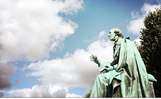 Monument to the world famous poet Hans Christian Andersen inside the public park Kongens Have in Copenhagen,...