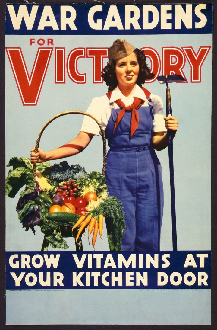 An American poster from 1942 promoting Victory Gardens.