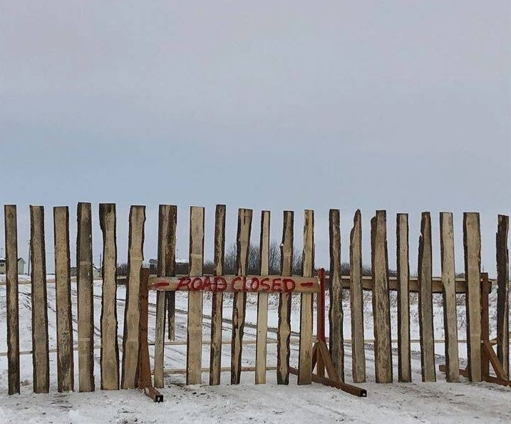 A roadway leading into the Louis Bull First Nation in Maskwacis, Alta. is blocked as strict rules have been implemented to protect its citizens from the coronavirus.