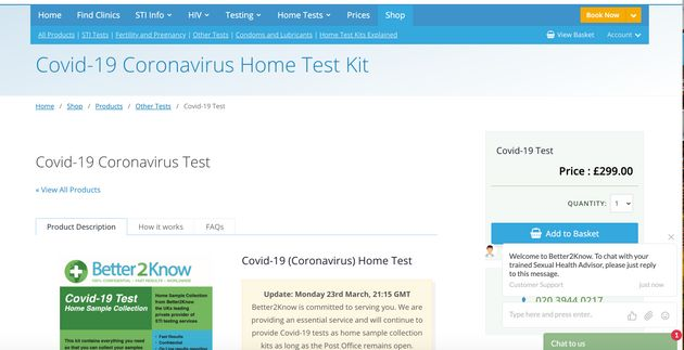 Better2Know is selling Covid-19 tests online for