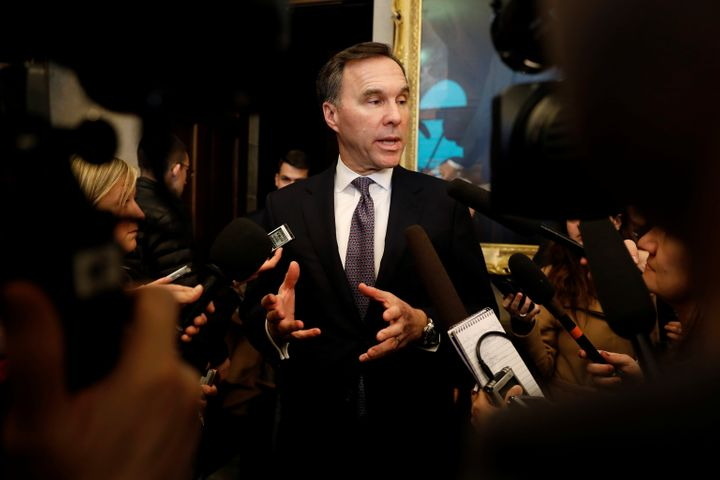 Finance Minister Bill Morneau speaks to media on Parliament Hill on March 11, 2020.