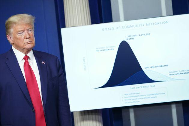 Donald Trump présentant une courbe de l'évolution de l'épidémie de coronavirus avec et sans mesures de...