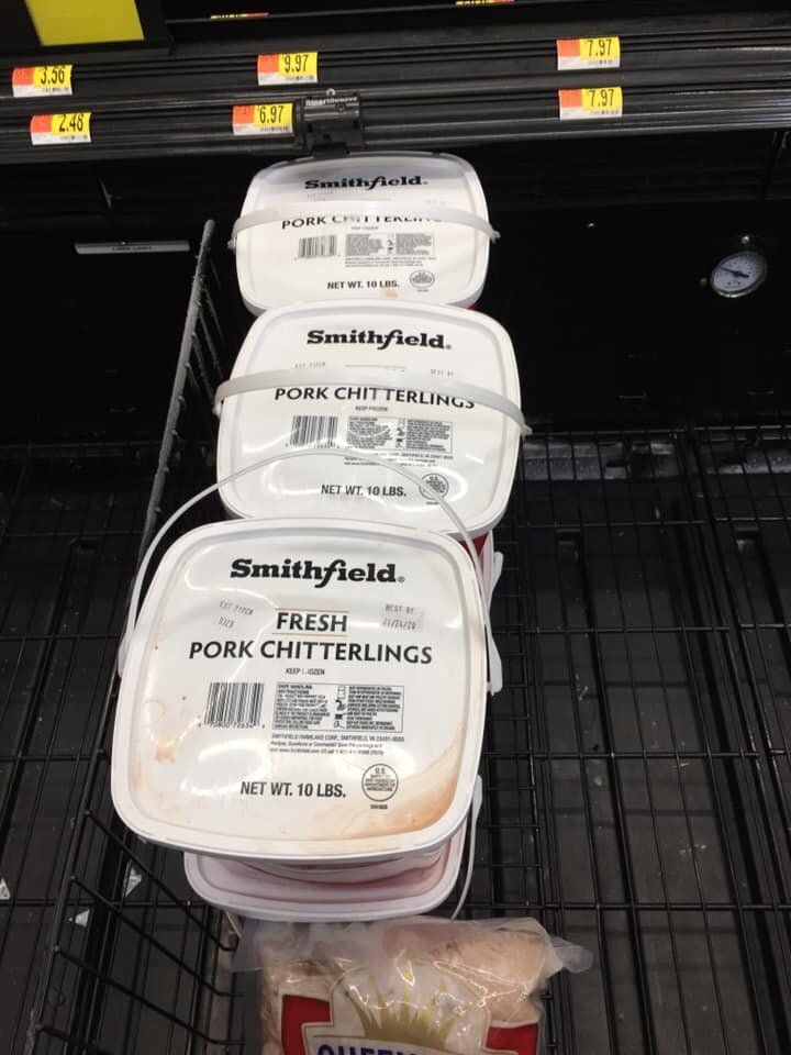 The frozen section inDanny Rayhorn's local market was mostly decimated except for pork chitterlings.