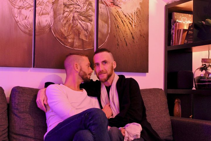The author (right) with his boyfriend, Vincent, in their studio apartment in Paris (April 2020).