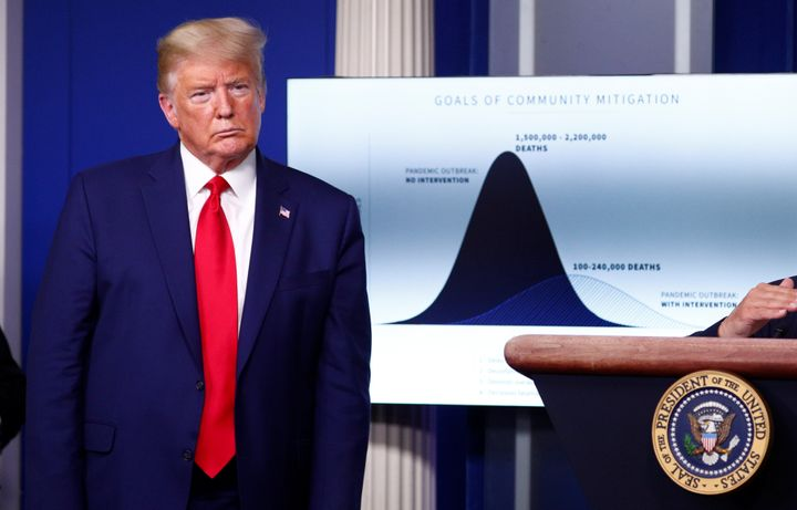 """U.S. President Donald Trump stands in front of a chart labeled """"Goals of Community Mitigation"""" showing projected deaths in the United States during the daily coronavirus response briefing at the White House on March 31, 2020."""