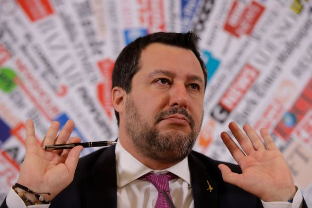 Opposition populist leader Matteo Salvini gestures during press conference at the Foreign Press association,...
