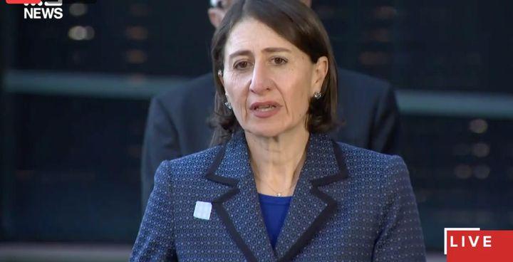 Premier Gladys Berejiklian speaks about the NSW coronavirus lockdown on Friday.