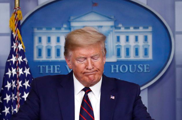 Donald Trump pendant son briefing quotidien sur le coronavirus aux États-Unis, ce jeudi 2 avril...