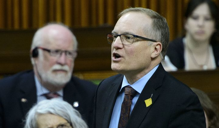 NDP Peter Julian stands during question period in the House of Commons on Parliament Hill in Ottawa on May 2, 2019.