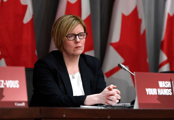 Carla Qualtrough listens during a press conference on COVID-19 at West Block on Parliament Hill in Ottawa on March 25, 2020.