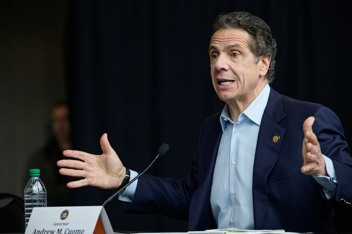 "New York Gov. Andrew Cuomo (D) holds a daily press briefing Monday. Cuomo's progressive critics consider his proposed Medicaid cuts a ""disaster."""