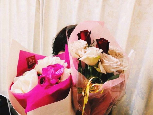 結婚記念日と誕生日は、大好きなバラが沢山でハッピィな母。