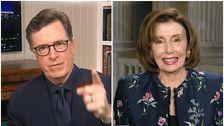 Pelosi im Gespräch Mit Stephen Colbert Braucht Eine NSFW Drehen