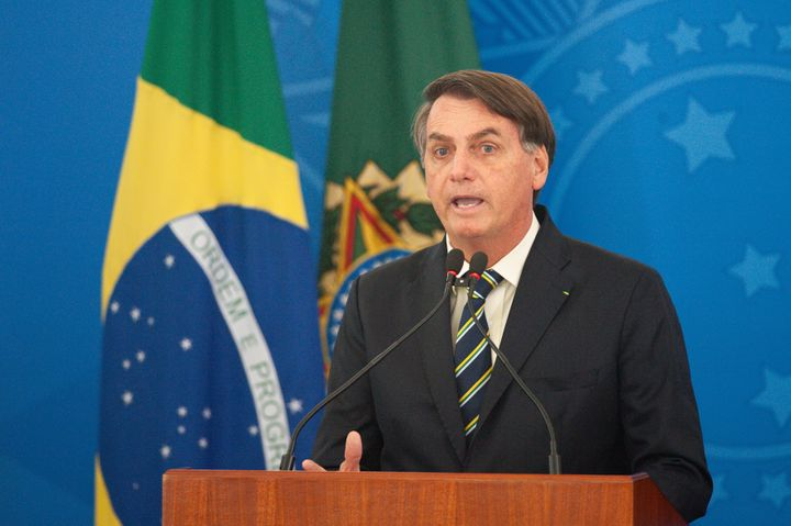 Jair Bolsonaro, the president of Brazil, speaks in a press conference about credit for entrepreneurs during the coronavirus p