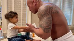 The Rock Raps To His Toddler As They Wash Hands. You're