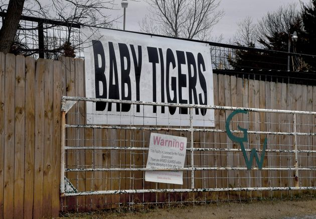 A sign advertising baby tigers at the entrance of the Greater Wynnewood Exotic Animal Park on Feb. 9,