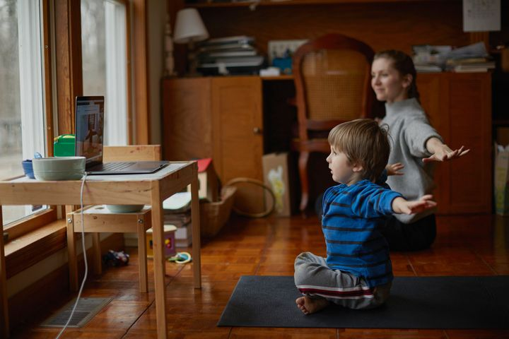 Online workout classes for kids, like yoga and stretches.