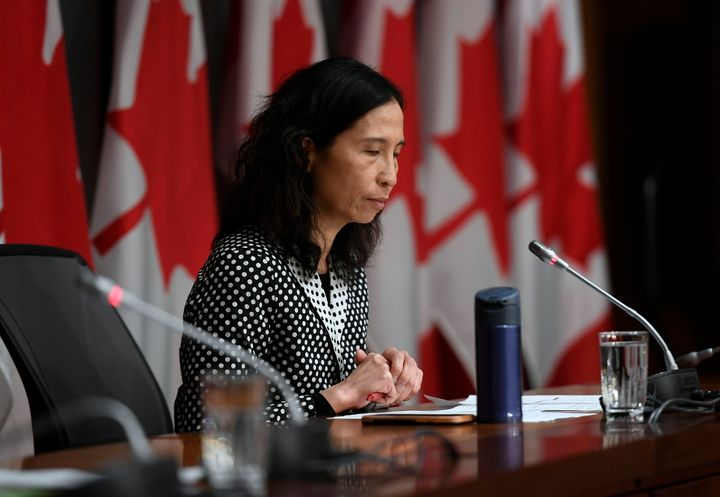 Canada's chief public health officer Dr. Theresa Tam listens to questions at a press conference on COVID-19 on Parliament Hill in Ottawa on March 24, 2020.