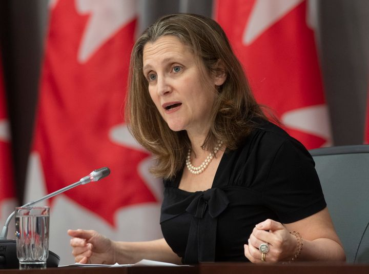 Deputy Prime Minister and Minister of Intergovernmental Affairs Chrystia Freeland responds to a question during a news conference in Ottawa on April 3, 2020.